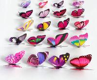10pcs  3D ButterflyDecorative Butterflies Wall Stickers PVC 3D Decorative Butterfly Removable Wall Sticker Home Wedding Decor