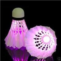 4 PCS/Lot LED Badminton Shuttlecock Brand Dark Night Glow Birdies Lighting Indoor Sports Flash Colors DropShipping Free Shipping