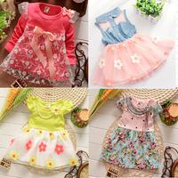 2015 New more 12 colors girls Lace print dresses,Kids bow tutu dress,Children lace cake dress,kids Cute dress good quality