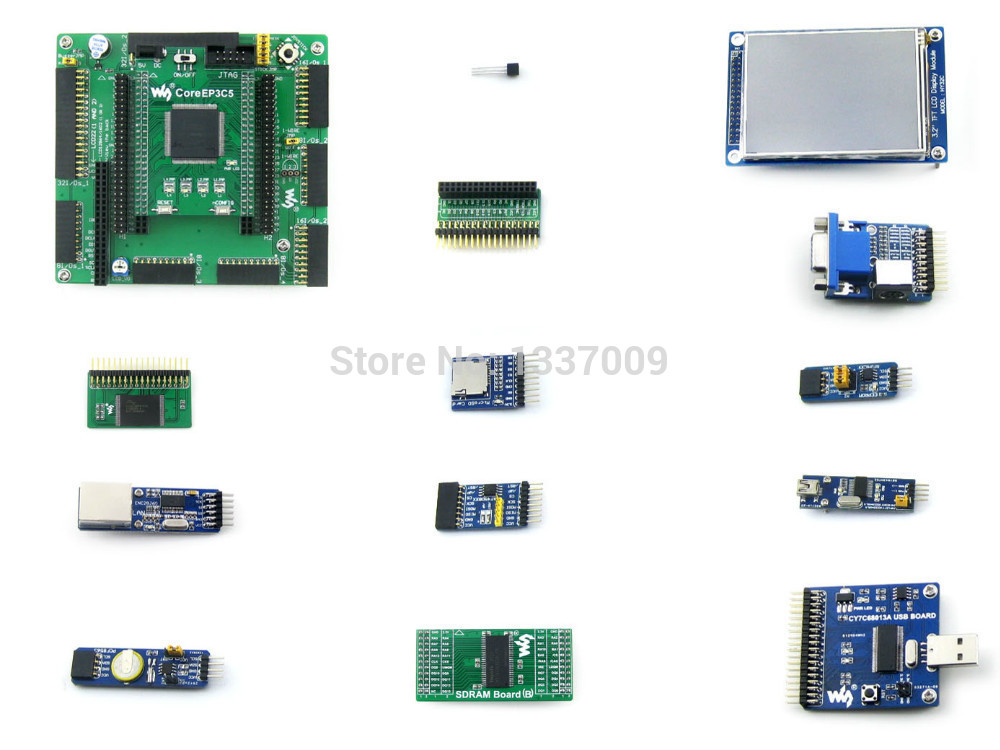 Wholesale ALTERA EP3C5 EP3C5E144C8N Cyclone III FPGA Development Board + 13 Accessory Modules Kits = OpenEP3C5-C Package A(China (Mainland))