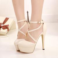 Free shipping hot sale 2014 beautiful cross straps 14cm high-heeled single shoes Women fashion sexy high-heeled pumps shoes
