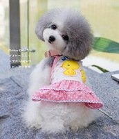 Yellow Duck Dress Dog Clothes Puppy Clothing Pet Product Small Dog Summer  T-shirt 1pcs/lot Pink Princess Dress Teddy Clothes