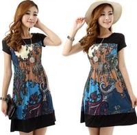 2014 New Summer new fashion women's high quality pretty casual plus size L/XL/2XL/3XL chiffon print dress retro