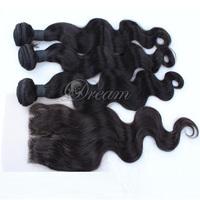 120% Density Medium Part Body Wave Top Lace Closure and Hair Weft Malaysian Virgin Human Hair Grade 8a Good Quality 4pcs/lot UPS