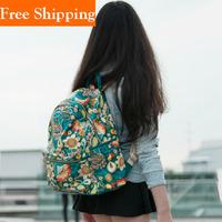 Vintage Blue Women Floral Printing Cute Flower Backpack For Girls 2014 Fashion Korean Ladies Genuine Leather Backpack Shoulder