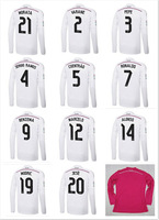 Best thailand quality 14-15 Real Madrid Home White Soccer Jerseys Long Sleeve Men Football shirt Fans Version Free shipping