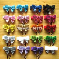 "85pcs/lot 19colors 1.8"" Embroideried sequin small hair bows with hair clip girls' diy hair accessories hair pins hair decoration"