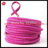 Multi-Layer Women Leather Bracelets Bangles, Charm Fashion Wrap Crystal Bracelet, Many Colors Choose