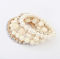 Sunshine jewelry store 2014 Fashion Candy Color Pearl Flower Multilayer Charm Bracelet & Bangle For Women Fashion Jewelry