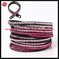 2014 Fashion Bracelets Multi-layer Wrap Bracelets Crystal Rhinestone Leather Bracelets Jewelry Free Shipping!