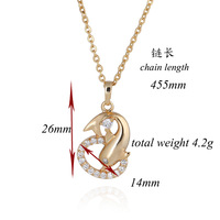 2014 New Copper 18K Gold Plated Crystal Azorite Dolphin Prom Necklace Pendant D0058