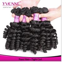 3 Bundles Unprocessed Curly Virgin Hair, Tight Curl Fumi Human Hair Weave,Aliexpress Yvonne Hair,Natural Color 1B
