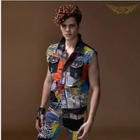 BO-32 2014 fashion Punk hip hop HIPHOP denim vest men Patchwork Hole jeans vest male vest clothing sleeveless jacket man jacket