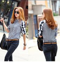 2014 new autumn women's asymmetrical long-sleeve plaid shirt female patchwork blouse shirts free shipping SM;L;XL LSH9861LQY