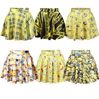 Fashion Cute Cartoon women skirts summer 2014 Tartan SpongeBob Minions Flower 6 designs Yellow saia Skirt Punk  pleated skirt