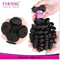 4Pcs/lot Tight Curly Virgin Hair, Unprocessed Virgin Fumi Human Hair Weave,Aliexpress Yvonne Hair,Natural Color 1B