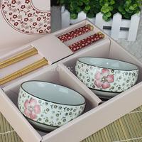 Yuhuatai ceramic wankuai lovers chopsticks bowl gift dinnerware set+Free shipping