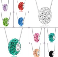 new arriva stylel!Mix color crystal shamballa necklace Resin Rhinestone Silver Big Hole crystal 10*14mm european beads