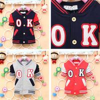 2014 autumn new arrival Children cotton top baby boy girl cute OK  jacket longsleeve Cardigan kid lovely clothing 4pcs/lot