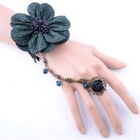 Big flower rhinestone bracelets bangles custom jewelry wholesale charm black bracelet with ring fashion accessories freeshipping