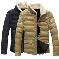 The new autumn and winter man coat  fashion leisure high quality men's cotton padded jacket M/5XL men's cotton corduroy