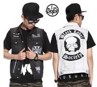 BO-33 Punk hip hop denim vest men fashion Casual  vintage sport sleeveless jacket outdoors denim vests harajuku sports
