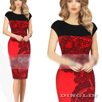 Vogue Fashion Women Celebrity Style Gorgeous Floral Print Party Evening Dress Novelty Business Pencil Dresses Free Shipping 1490