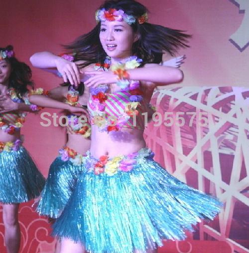 frete grátis 4pcs/lot novos tipos hula havaiana saia de grama vestido de festa da flor dança praia 2-5y traje(China (Mainland))