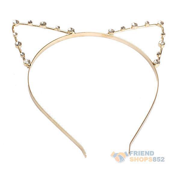 Sexy Cat Ear Girl Head Band Beaded Hair Band Metal Fashion Gold Fress Shipping PTSP(China (Mainland))