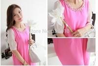 New Arrival summer maternity loose slim size Beaded Chiffon Dress 3 colors M, L, XL maternity dress!