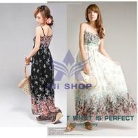 2014 Women Summer New Maxi Long Boho Dress Casual Chiffon Dress Seaside Resort Floral Bohemian Beach Dresses Sundress Longo 3104