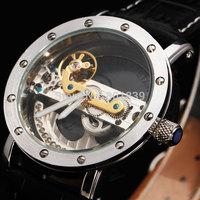 New Luxury Transparent Tourbillion Dial Diamond SilverTone Skeleton Black Band Automatic Self Wind Mechanical Men Watch A524