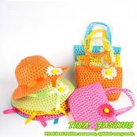 2014 Summer Hat Girls Kids Beach Hats Bags Flower Straw Hat Cap Tote Handbag Bag Suit Freeshipping NA50