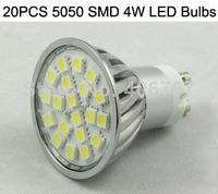 Wholesale Free Shipping LED Spotlight 20PCS 5050 SMD LED Lamp GU10 4W LED Bulb 500PCS/lot