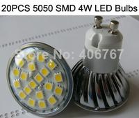 Wholesale Free Shipping LED Spotlight 20PCS 5050 SMD LED Lamp GU10 4W LED Bulb 300PCS/lot