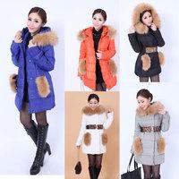 2014 Winter explosion models hot new Korean women thick padded down jacket and long sections winter coat women feminino nrh 6932