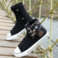 2014 New Summer High Shoe Men Canvas Reflexed two wear Hip-hop Student style classic Canvas Shoes Lace Up Skateboard