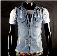 BO-41 2014 spring summer hole slim men jean vest mens denim vest fashion sleeveless jacket male vest clothing