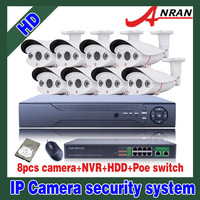 HDMI P2P 2.0 MP 8 PCS Outdoor Weatherproof IR Camera Home Security System 8CH NVR POE kits Color Video Security System 3TB HDD