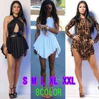 2014 New spring Summer White Sexy Women Bandage Mini Sun Dress  Celebrity Party Casual Dresses Plus Size Women Prom Clothing