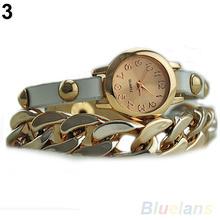 New Arrived Women s Punk Golden Dial Faux Leather Chain Analog Quartz Bracelet Wrist Watch 0EAJ