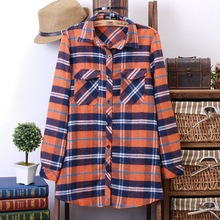 Free Shipping New Spring Lattice S-L Orange Blue Blouse Long Sleeve Shirt Korea Style Z0354(China (Mainland))