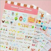 6sheets/lot DIY Cute Kawaii Cartoon Korean Girl Sticker for Scrapbook Decoration Diary Free shipping