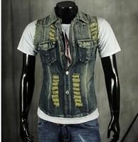 BO-47 2014 spring summer Casual Slim Punk Mens denim vest jean vest fashion motorcycle vest  jeans vest sleeveless jacket