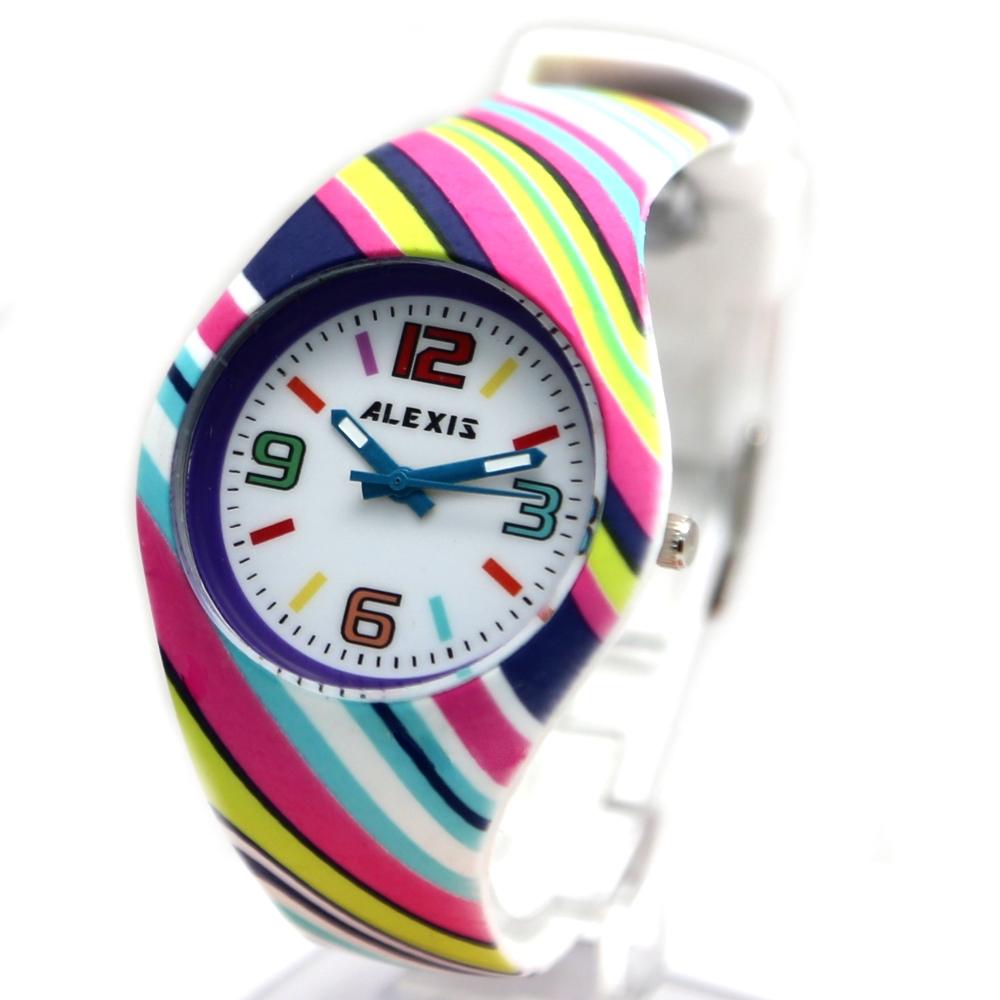 FW922E PNP Shiny Silver Watchcase Silicone Dark Blue Band Boy Girl Fashion Watch(China (Mainland))