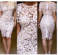 2014 summer fashion women party club dress new Korean wild hollow round neck lace female dress sexy Slim free shipping