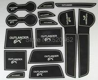 New Arrival ! 14pcs Non- slip Interior door pad/ luminois cup mat door gate slot mat for MITSUBISHI Outlander 2013-2014