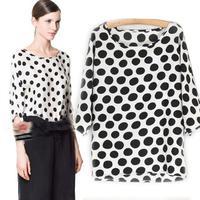 Spring Autumn new clothing women shirt Polka Dot Bat Sleeve cuff ladies blouse primer blusas femininas 2014