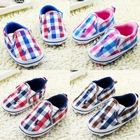 New Arrival 3 Pairs/Lot Fashion Blue plaid baby shoes casual cotton shoes children's pre walker shoes new born shoes PO-P9