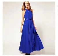 2014 New European Irregular Shape Chiffon Long Dress Elegant Sleeveless Shoulder-off Long Design Evening Dress  (with Sashes)